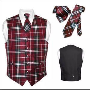 Men's Plaid Dress Vest NeckTie Suit Tux Burgundy